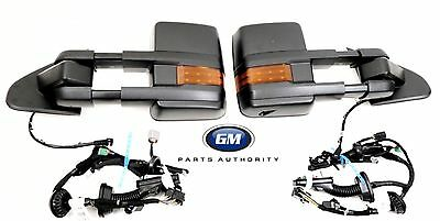 2014-2018 Silverado Sierra Black Camper Trailer Tow Mirrors Door Harnesses OEM