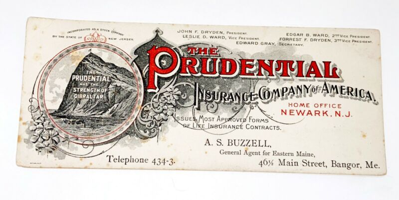 Prudential Insurance Bangor Maine Ink Blotter Trade Card Gibraltar Newark NJ