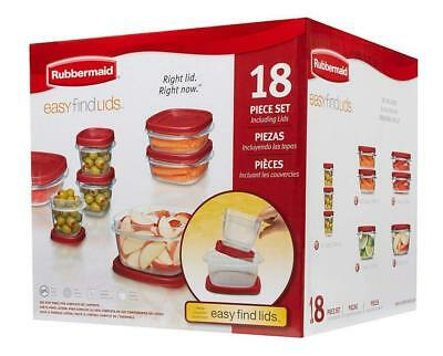 Rubbermaid Easy Find Lids Food Storage Containers, Racer Red, 18-Piece Set...
