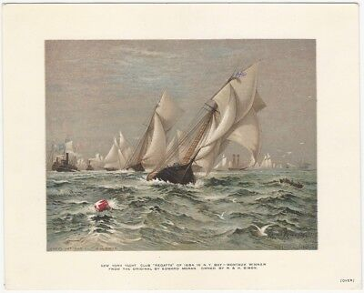 1880s Syracuse New York Silk Maker 'Regatta Silks' Yacht Race Card