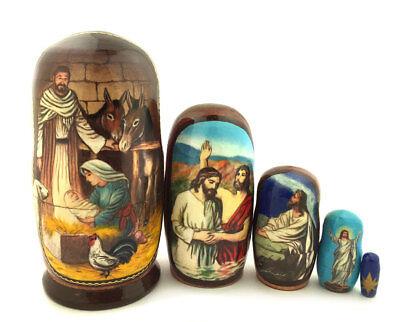 Christmas Matryohka Nativity Scene Jesus 5 Piece Russian Icon Nesting Dolls Gift - Nesting Nativity Scene