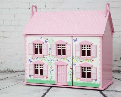 Rose Cottage Wooden Dolls House Pink Children's Starter Kit