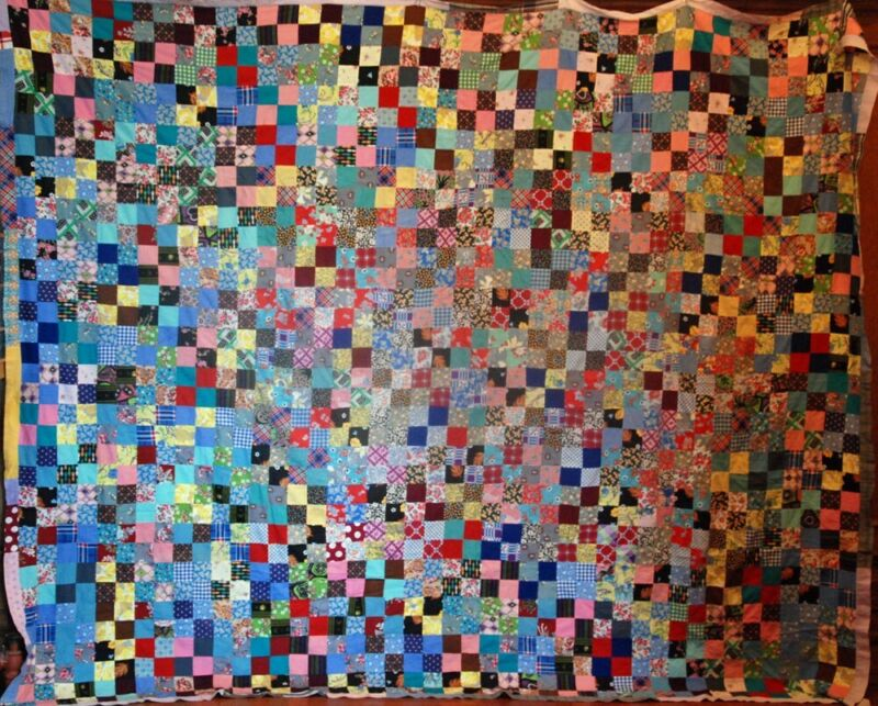 "HUGE QUILT TOP 109"" x 88"" ~ CLEAN ~ VARIETY of PRINTS ~ 1600 SQUARES ~"