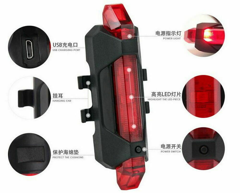 5 LED USB Rechargeable Bike Tail Light Bicycle Safety Cycling Warning Rear Lamp Bicycle Accessories