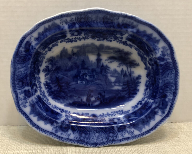 Antique FLOW BLUE Oval Serving Dish-Non Pareil-Burgess & Leigh 1891 Middleport