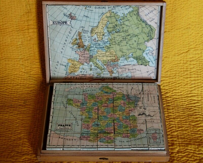 SALE~ 1899 GEOGRAPHY CUBE MAP PUZZLE ~ 8 LITHO WORLD MAPS ~ CHILD ANTIQUE TOY