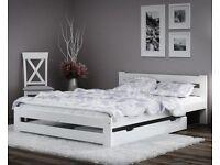Wooden Pinewood White Bed Frame Single Double Slatted 3ft 4ft 5ft Kingsize