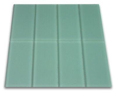 Frosted Sage Green Glass Subway Tile 3x6 for Backsplashes & More - SAMPLE