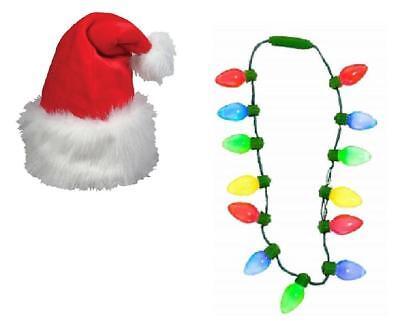 Plush Santa Hat and Colorful Light-Up Christmas Flashing Blinking Bulb Necklace ()