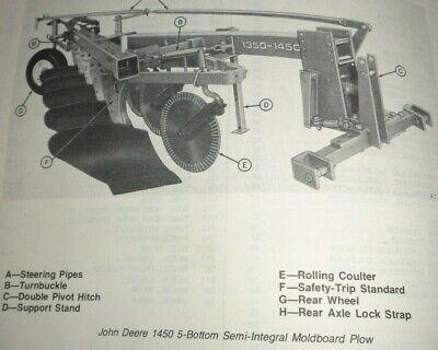 John Deere 1350 1450 2350 2450 Semi Integral Plow Parts Catalog Manual Original