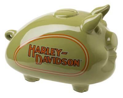 Harley-Davidson Ceramic 1930s Tank Graphic Medium Size Hog Bank -Green HDX-99174