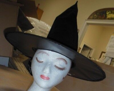 """New Lot of 3 One Size Adult Black Flocked Pointed Witches hats Halloween 14"""""""