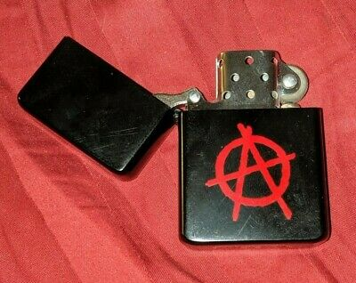 Black Sons Of Anarchy Style Lighter Wind Proof Black with Red Symbol Brand new ()