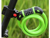 High Security 5-Digit Combination Coiling Cable Bike Lock Green