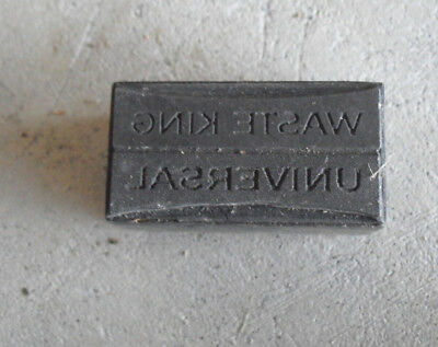 Vintage Waste King Universal Wood Metal Letterpress Print Block Stamp