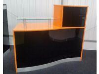 Reception Desk in High Gloss Orange and Black