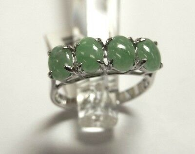SOLID 14K WHITE GOLD FOUR OVAL 1.50 CT GREEN JADE  RING Size 7 14k White Gold Four Stone