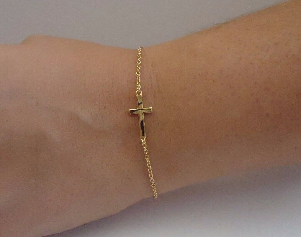14k Yellow Gold Over 925 Sterling Silver Sideways Cross B...