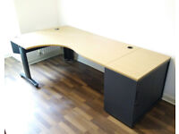 High quality left hand office desk with matching tambour door cupboard