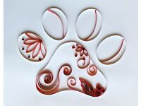 Framed Paw Print Art Paper Quilling