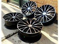 """18"""" GLOSS BLACK POLISHED FACE ALLOY WHEELS FORD C MAX MONDEO FOCUS 5X108"""