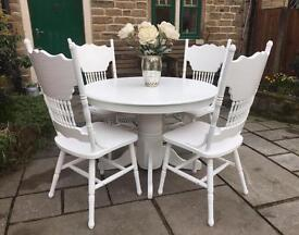 Shabby Chic White Round Dining Table & 4 Ornate Vintage Chairs