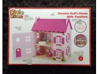 Brand New,Unopened Wooden Doll's House With Furniture