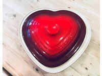 Le Creuset Stoneware Heart Casserole with Lid, 26 cm - Cerise
