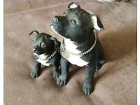Staffy and puppy ornament