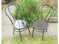 Cafe or Bistro Steel Chairs - Thonet Bentwood Style - £40 a pair