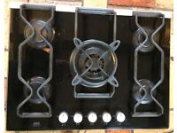 AEG Electrolux 5-burner gas hob with black glass top, electric ignition. Natural gas & LPG
