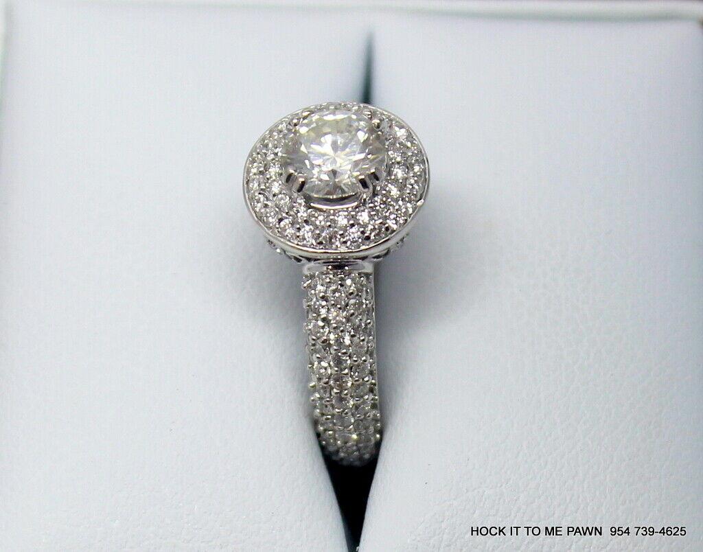 Duet Halo Diamond Engagement Ring in 14k White Gold (1.75 ct. tw.) GIA 5