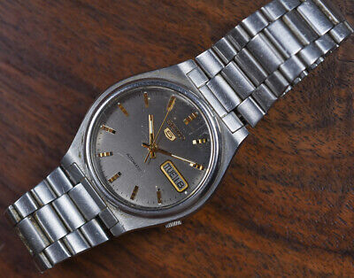 Vintage SEIKO 5 Automatic Stainless Steel 7009-3170 Day Date Men's Watch