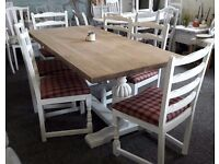 Shabby chic refectory dining table and 6 chairs