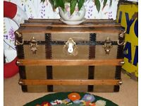 Restored Very Very Large Antique Victorian Flat Top Travel Trunk Chest Vintage