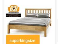 Solid oak superkingsize bed frame