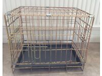2 SMALL DOG CRATES with made to measure shower proof cover