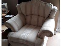 Cream 3 seater sofa plus matching single chair.