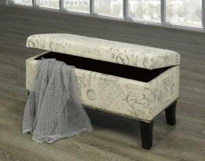 Beige French Script Bench& Nailheads - IF-6243 in Toronto Furniture Sale (BD-1467)