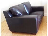 2 Seated Dark Brown Leather Comfy Sofa - Collect from West End