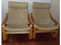 cream leather Ikea poang armchairs matching pair