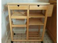 Beechwood Butchers Trolley with 2 drawers & tiled top