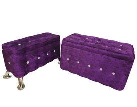 PURPLE Set of 2 Crush Velvet Diamante Ottoman Storage Box Footstool Pouffe Seat Chair Chest Trunk