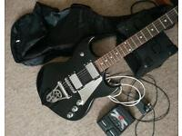 Silvertone Paul Stanley signed guitar pack (case, amp, processor)