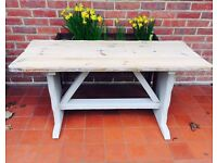 Shabby Chic Pine Annie Sloan Beige Painted Pub Style Coffee Table.