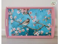 Large Shabby Chic Pink Turquoise Blue Tit Bird Oilcloth PVC Serving Tray Art Craft
