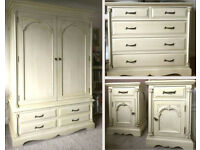 French Style Distressed Ivory Wardrobe, Chest of Drawers and two Bedside Cabinets