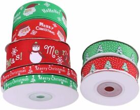 Christmas Ribbon Grosgrain Happy Merry Christmas Snowflakes Ribbons Roll Gifts Wrap