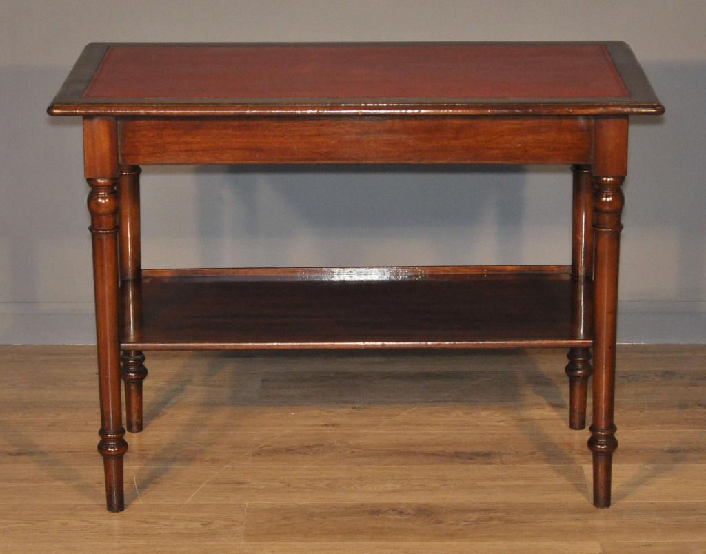 Lovely Antique Victorian Mahogany Hall Table Writing Desk With Base Shelf