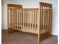 Solid beech wood bedside cot (by Cosatto) with spring interior mattress in spotless condition